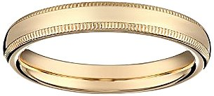 Women's 14k Yellow Gold 3mm Comfort Fit Milgrain Plain Wedding Band, Size 7