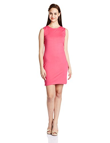 Miss Chase Women's Cotton Pencil Dress (MCS14D02-29-30_Hot Pink_Medium)