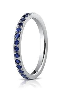 14k White Gold 2mm Pave Set 36-Stone Blue Sapphire Eternity Ring (.72ct). Benchmark Lifetime Guarantee!