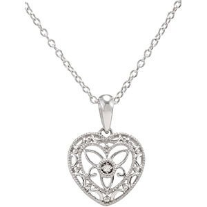 Genuine IceCarats Designer Jewelry Gift Sterling Silver Diamond Heart Necklace 18 Inch 18 Inch Diamond Heart Necklace 18 Inch In Sterling Silver