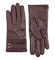 M&S Collection Leather Herringbone Tweed Gloves
