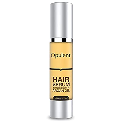 Best Hair Serum with Argan Oil + Supports Hair Growth Treatment - Hair Serum for Frizzy Hair, Damaged Hair, Hair Loss, Curly Hair - Leave in Hair Conditioner for Healthy, Shiny Hair - 1.69 Fl Oz