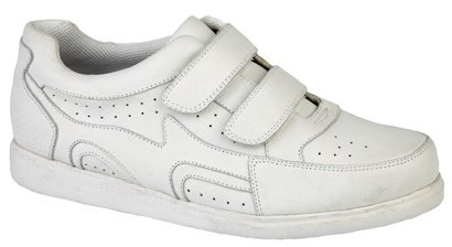 Mens DEK Leather Velcro Bowls Bowling Shoes White Size 6 7 8 9 10 11 12