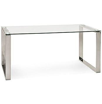 Alterego - Grand bureau droit/table à diner 'NEVADA' en verre