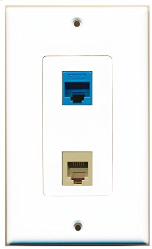 Riteav - 1 Port Phone Beige 1 Port Cat6 Ethernet Blue Decorative Wall Plate