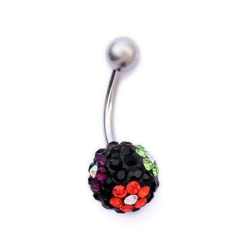 K Mega Jewelry Navel Belly Button Bar Ring Black Flower Ferido Body Jewelry Piercing