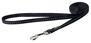 Rogz Utility Small 3/8-Inch Reflective Nitelife 6-ft Long Fixed Dog Lead, Black