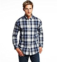 2in Longer Blue Harbour Brushed Pure Cotton Basket Weave Checked Shirt