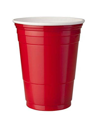 Mr. Ice Bucket Double Walled Insulated Party Cups, 16-Ounce, Small, Red