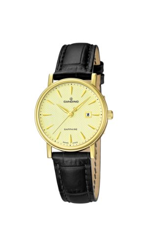 Candino Women's Quartz Watch with Gold Dial Analogue Display and Black Leather Strap C4490/2