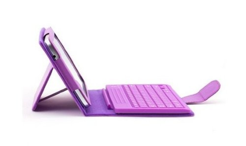 """Best To Buy® Leather Protective Stand Case Bag Cover Wireless Bluetooth Keyboard For Samsung Galaxy Tab 3 A 8"""" Samsung Galaxy Tab 3 T310 T311 And 1 Pcs Stylus Pen As The Gift - Purple"""