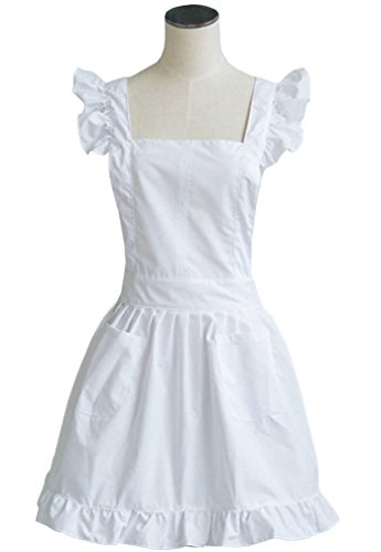 LilMents Maid Ruffle Retro Apron Kitchen Cooking Cleaning Fancy Dress Cosplay Costume