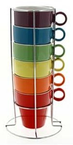 JJA So Fresh So City Cappuccino Cup Set - Multi-Coloured - with Rack (Cappuccino Cups 8 Oz compare prices)