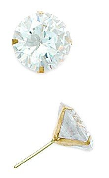 14k Yellow Gold 10mm Round CZ Light Prong Set Earrings - JewelryWeb
