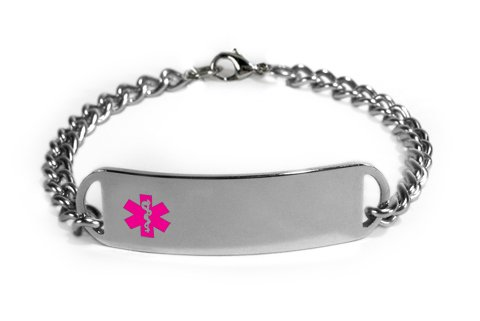 Epi Pen Medical Id Alert Bracelet With Embossed Emblem From Stainless Steel. D-Style, Premium Series.