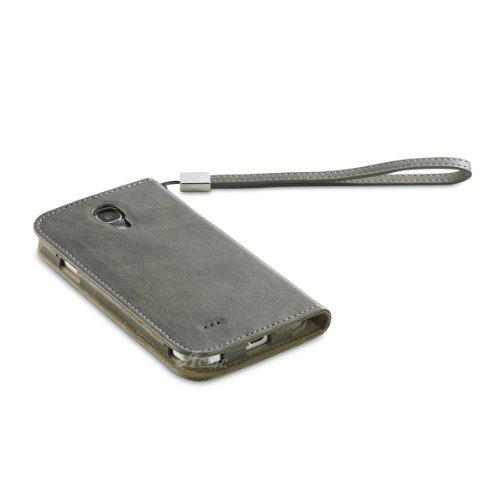 Acase GALAXY S4 ケース PU Leather case PU レザー ケース サイド フリップ ブックタイプ for Samsung GALAXY S4 グレー ( ストラップ 付 )