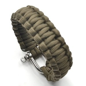 Cosmos ® 8 inches with Stainless Steel D Shackle Survival Bracelet Strap with Cosmos Fastening Strap (Olive Green 25)