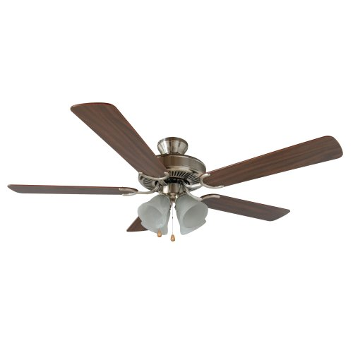 Yosemite Home Decor CALDER-SN-4 52-Inch Ceiling Fan with Light Kit and Walnut/Wengue Blades, Satin Nickel