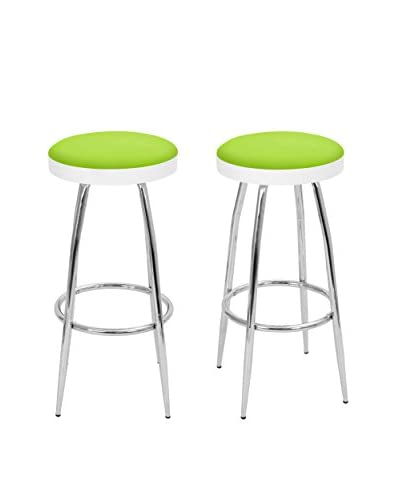LumiSource Set of 2 Topspin Bar Stools, Lime Green