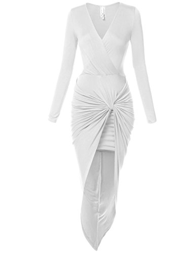 Sexy Asymmetric Stretchy Body Wrap Fitted Tie Dresses,029-White,Medium