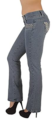 3014 - Colombian Design Butt lift, Levanta Cola, Boot leg Jeans in Ice Size S