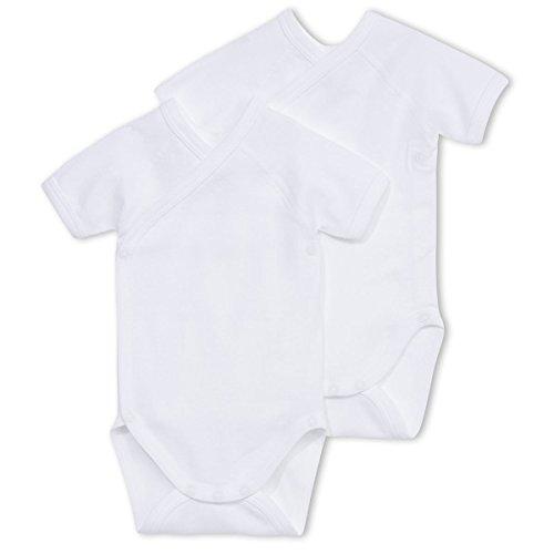 Petit Bateau Unisex Baby 2 Pack Short Sleeve Crossover Onsie - White-12M