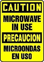 "Caution Microwave In Use (Bilingual) 14"" X 10"" Dura-Plastic Sign"