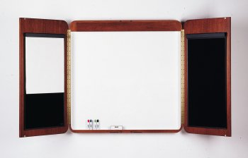 Designer-Electrol-Concord-Conference-Magnetic-Enclosed-Whiteboard-4-x-5-Frame-Finish-Mahogany