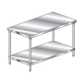 "Premium Flat Top Stainless Steel Undershelf Workbench 108""W X 42""D"