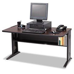 ** Computer Desk W/ Reversible Top, 48w x 28d x 30h, Mahogany/Medium Oak/Black **