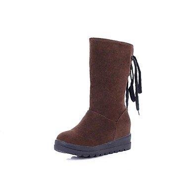 MissBoot Frauen-Plattform runde Kappe Knie hohe Stiefel Schnee (mehr Farben)
