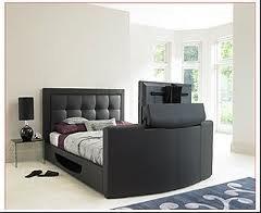 Luxury Queen Leather TV Bed In Black Bedroom Furniture Sets