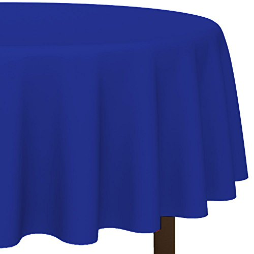 Amscan BB100182 Blue Round Plastic Tablecover, 84 in. - 1
