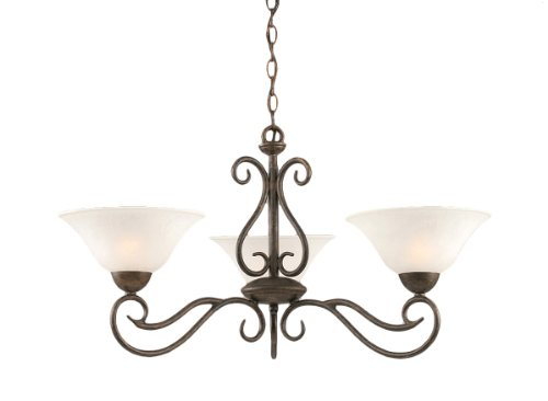 Toltec Lighting 43-BRZ-515 Olde Iron Three-Light Uplight Chandelier Bronze Finish with White Marble Glass, 10-Inch