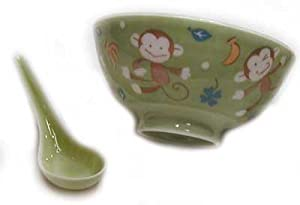 Green Monkey Design Rice Bowl and Spoon Set - Hand Painted Porcelain