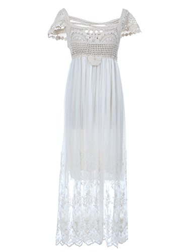 Anna-Kaci S/M Fit White Tan Beige Short Sleeve Organic Floral Bridal Maxi Dress front-208871