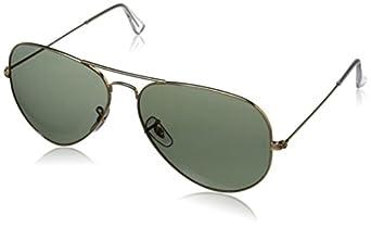 Ray-Ban Men's Aviator Large Metal Polarized Aviator Sunglasses, Arista & Crystal Green Polarized, 62 mm
