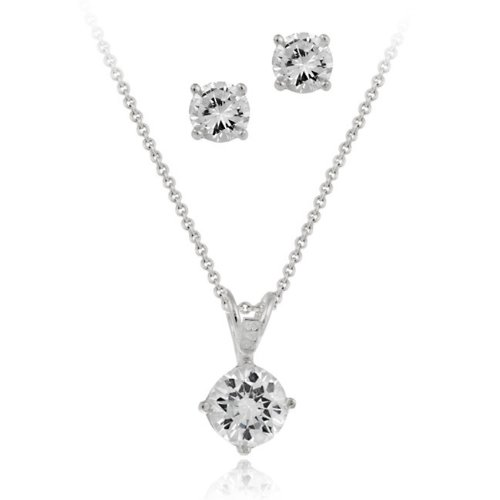 Sterling Silver Round CZ Solitaire Pendant & Stud Earrings Set