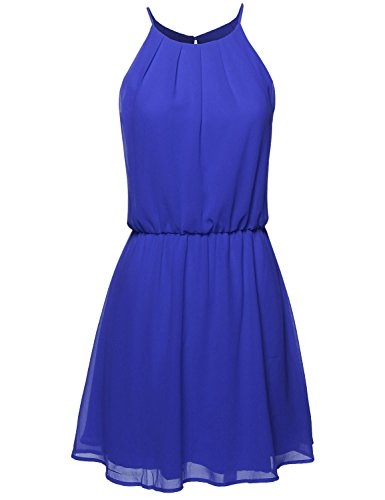 High Neck Pleated Dress w/ Waistband Royal Blue Size S