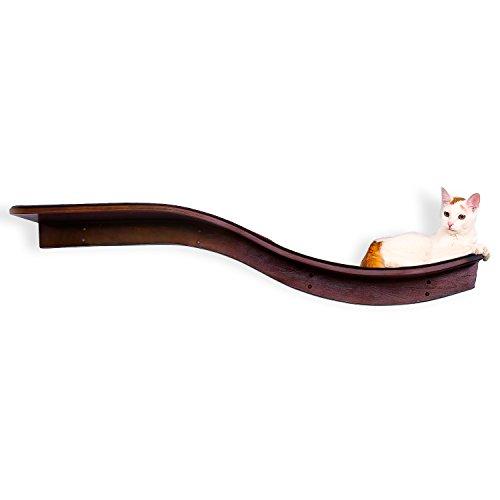The Refined Feline Lotus Branch Cat Shelf, Mahogany