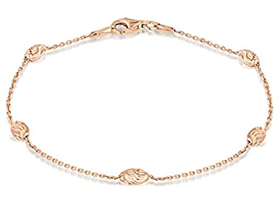 Tuscany Silver Rose Gold Plated Diamond Cut Ball and Trace Chain 7.5cm Bracelet 19cm