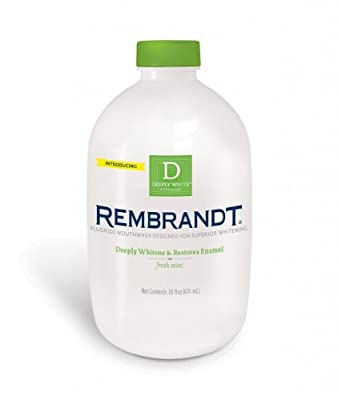 Rembrandt Deeply White Whitening Mouthwash with Fluoride Fresh Mint, 16-Ounce Bottle