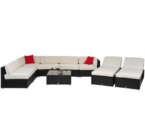 Outsunny 9 pc Outdoor Patio Rattan Wicker Sofa Sectional & Chaise Lounge Furniture Set
