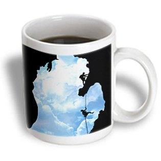 3Drose Michigan Climbers, Two People Rock Climbing Within A Michigan Silhouette, Ceramic Mug, 15-Oz