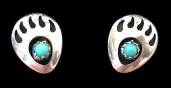 Small Southwestern Native American Handcrafted Bear Paw Post Earrings in Turquoise and Sterling Silver, #1285