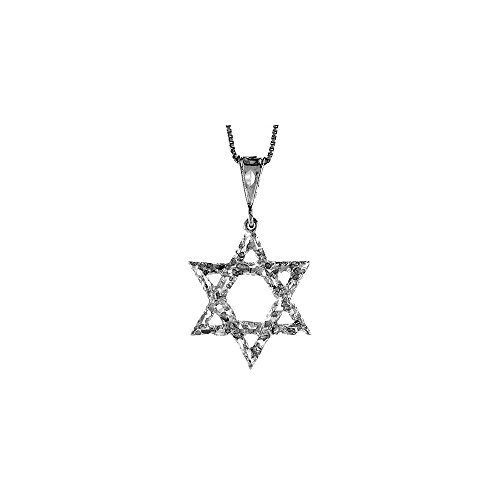 .925 Sterling Silver Jewish Star of David Textured Charm Pendant