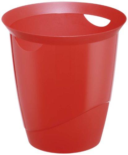 Durable 1701710 Trend Poubelle de Bureau 16 litres Plastique Rouge Translucide