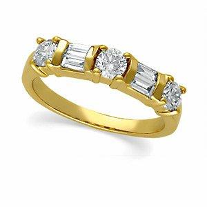 14k Yellow Gold Rough Diamond Band Ring 3/4ct - Size 6 - JewelryWeb