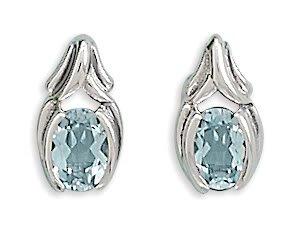 Oxidized Oval Blue Topaz Post Earrings