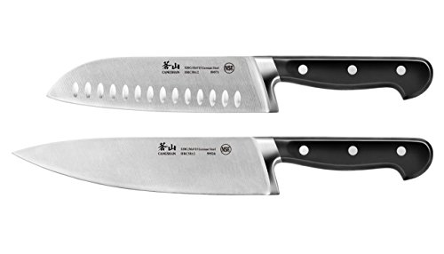 Cangshan V2 Series 59557 German Steel Forged Chef and Santoku Knife Set, 8-Inch and 7-Inch